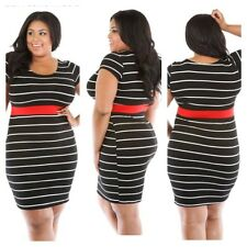 NEW PLUS SIZE BLACK AND WHITE STRIPED BODYCON DRESS WITH RED SIZE 1X