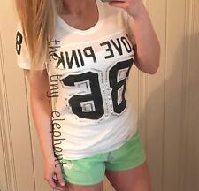 Victoria Secret Love Pink 86 Foil Graphic Shirt Green Velour Sweat Shorts Set L