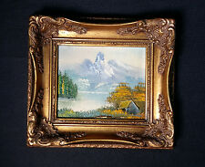 Old original Miniature painting Oil painting, signed OSBERT Alps, Lake, Hut 1v5