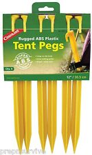 6 -12 INCH RUGGED ABS TENT PEGS,STAKES NO SLIP HOOKS, LIGHTWEIGHT, BRIGHT YELLOW