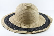 LADIES STRAW SUMMER INSIPRED BEIGE / BLACK DERBY  BOWLER HAT (HT21)