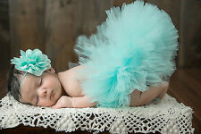 Blue Newborn Tutu Clothes Skirt Flower Hat For Baby Girls Photo Prop Outfits