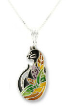 """Zarah Zarlite Time to Leave Cat NECKLACE Silver Plated Enamel 18"""" Chain Gift Box"""