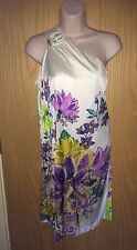 ROBERTO CAVALLI WHITE & FLORAL PATTERNED ONE SHOULDER STRETCH DRESS SZ 40 VGC