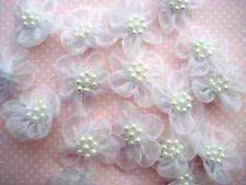 50 Organza Sheer Ribbon Wedding Flower Bow/Pearl Trim/craft/decoration F5-White
