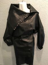 OMO NORMA KAMALI BLACK LEATHER  SHAW COLLAR DOLMAN SLEEVE TOP & MINI SKIRT M/4