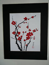 11x14 Cherry Blossom Flowers Love Lucky Feng Shui Art - Chinese Brush Painting