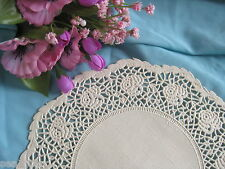 """VTG 5"""" INCH ROUND OFF WHITE IVORY PAPER ROSE FLORAL LACE PAPER DOILIES 6 PCS"""