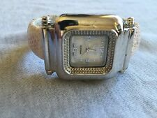 Geneva Platinum Silver Tone Case Mother of Pearl Dial Bangle Band Ladies Watch