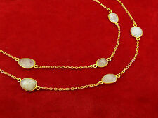 Long Strend Gold Plated Chunky Moonstone Necklace Fashion Statement Jewelry