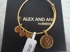 Alex and Ani Initial  S Charm Bangle Bracelet  Russian Gold New W/Tag Card & Box