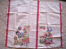 2 HAND EMBROIDERED TEA TOWEL FUNNY VINTAGE Woman Cleaning Man Cook RETRO KITCHEN