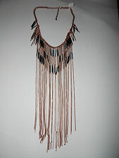 FREE PEOPLE NECKLACE STATEMENT BOHO COPPER NAVY MULTI FRINGE TASSEL CHAINS #331