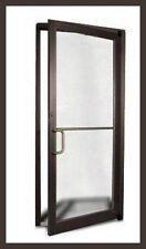 2 COMMERCIAL ALUMINUM STOREFRONT GLASS DOOR & FRAMES ( DARK BRONZE FINISH )