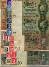 NAZI GERMANY BANKNOTE, COIN AND STAMP SET  # 76