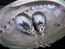 925 Sterling Silver HUGE AAA Drip Seashell Pearl Earrings Australia Seller 153