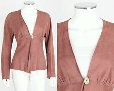 ROZAE NICHOLS DUSTY ROSE GENUINE SUEDE LEATHER TIE FRONT LONG SLEEVE TOP SZ M
