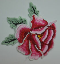 CAMILLIA ROSE PINK 10cm Embroidered Sew Iron On Cloth Patch APPLIQUE SEWING NEW