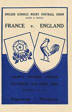 England v France Schools Under 16 18 Apr 1953 Exeter RUGBY PROGRAMME