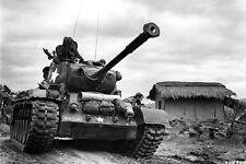 New 5x7 Korean War - Conflict Photo: M-46 Patton Tank Passes Thru Kumko, Korea