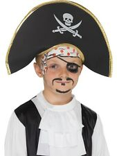 Kids Pirate Captain Hat, Black, with Skull & Crossbone