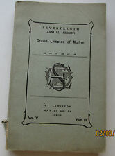 1909 Annual Session Maine GRAND CHAPTER Order of THE EASTERN STAR