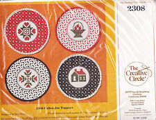 Counted Cross Stitch Kit: Christmas Calico Canning Jar Toppers