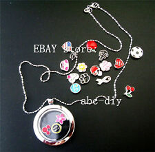 Floating Charms Memory Locket +13pcs Floating charms +Necklace Free shipping #2