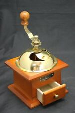 Vintage Style Brown Wooden Coffee Bean Grinder Hand Maker , Gold Colour