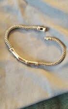 John Hardy Sterling Woven Sterling Silver Bamboo Bracelet MEDIUM  Pouch Included