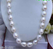 "Huge AAA 13-16mm south sea white baroque pearl necklace 18""14K"