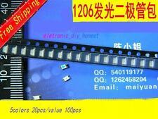 100pcs 5colors 20pcs/values 1206 SMD LED lights  Assortment kit#bao126