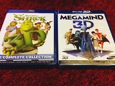 SHREK 3D Bluray Complete (All 4 Part ) & MEGAMIND 3D Bluray, All Factory Sealed.