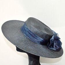 Chapeau de dame VINTAGE _ Capeline paille tressée marine et ruban bleu _ TB