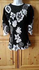 FRANK USHER SEQUIN BEADS SILK SIZE 16 EVENING TOP CRUISE COCKTAIL PARTY FORMAL