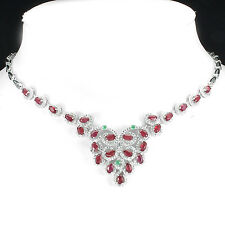 133 CTS! DAZZLING! NATURAL TRANSPARENT BLOOD RED RUBY & EMERALD SILVER NECKLACE