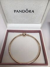 New w/GIFT SET Pandora Small 14 kt ALL Gold Bangle Bracelet 17 CM 6.7 in 550713
