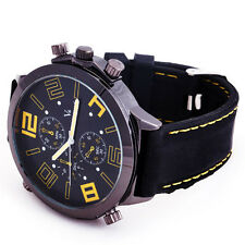 STYLISH COOL OVERSIZE DIAL NEW LUXURY SPORT MEN QUARTZ WRIST WATCH BLK RUBBER 81
