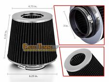"3"" Short Ram Cold Air Intake Filter Round/Cone Universal BLACK For Kia"