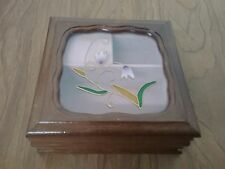 Vintage Wood Mele Jewelry Music Box w/etched glass Door lined w/pink velvet