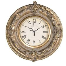 Ornate Gold Metal Effect Antique Style Distressed Finish Round Wall Clock