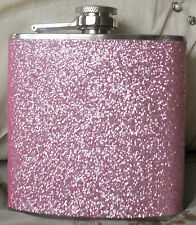 6oz Pink Glitter Hip Flask Ladies Festival Party Pocket Size Stainless Steel Out