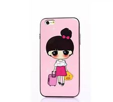 Cute Gril Pink Suitcase iPhone 6 Pink Cute Hee & Tree new high quality TPU case