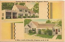 Garden Grove Motor Court South of Danville VA Roadside Postcard