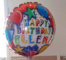 "18"" PERSONALISED ANY NAME FOIL BALLOON HAPPY BIRTHDAY WITH RIBBON & WEIGHT"