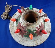 1920s Vtg Cast Iron Lighted Christmas Tree Stand Outlets Train Ornament Working