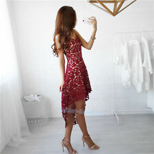 Women Summer Sleeveless Evening Party Cocktail Short Mini Lace Dress US shipping