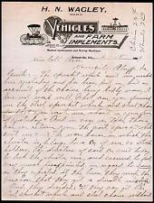 1899 Orfordville WI Vehicles and Farm Implements H N Wagley Vintage Letter Head