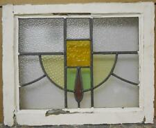 "OLD ENGLISH LEADED STAINED GLASS WINDOW Abstract Swoop 20.5"" x 16.75"""