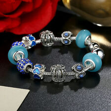 20cm European 9 25 Silver Blue Glass Bead & Crystal Charm Bracelet Snake Chain
